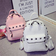 2017 Fashion Rivet Women Backpacks Small PU Leather Cute Lady Backpack Fashion Knitting Girls School Shoulder bags