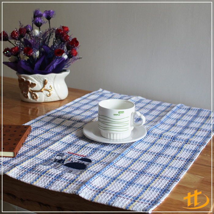 High Quality Blue Plaid Pattern Design Waffle stocklot fabric Tea Towel