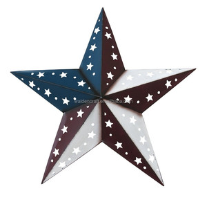 Wall Hanging Wrough Iron Metal Wall Ornaments Red White and Blue Dimensional Barn Star Patterned with Star and Circle Cutouts