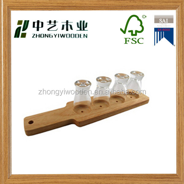 High quality customized natural handmade factory supply wooden cup holder serving tray