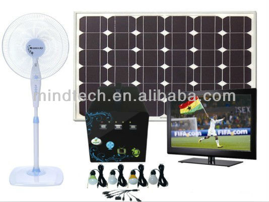 60W DC 12v Solar Home Lighting Kits Energy Power System