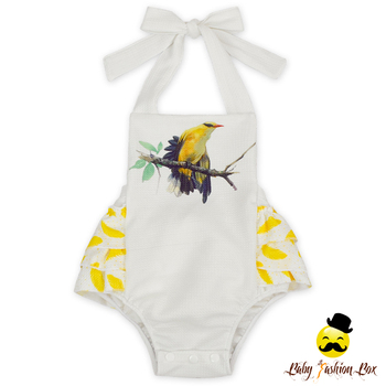 Girls Outfits Garments One Piece Cute Birds Ruffle Boubble Summer Baby Jumpsuits Model