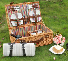Eco-Friendly Fujian Top Wholesale Willow Wracker picnic basket (with bottles, cutlery and plates etc )