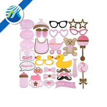 29pcs Baby Shower Photo Props, Baby Bottle Masks Pink Photo booth Props Newborn Girl Gift Party Decorations