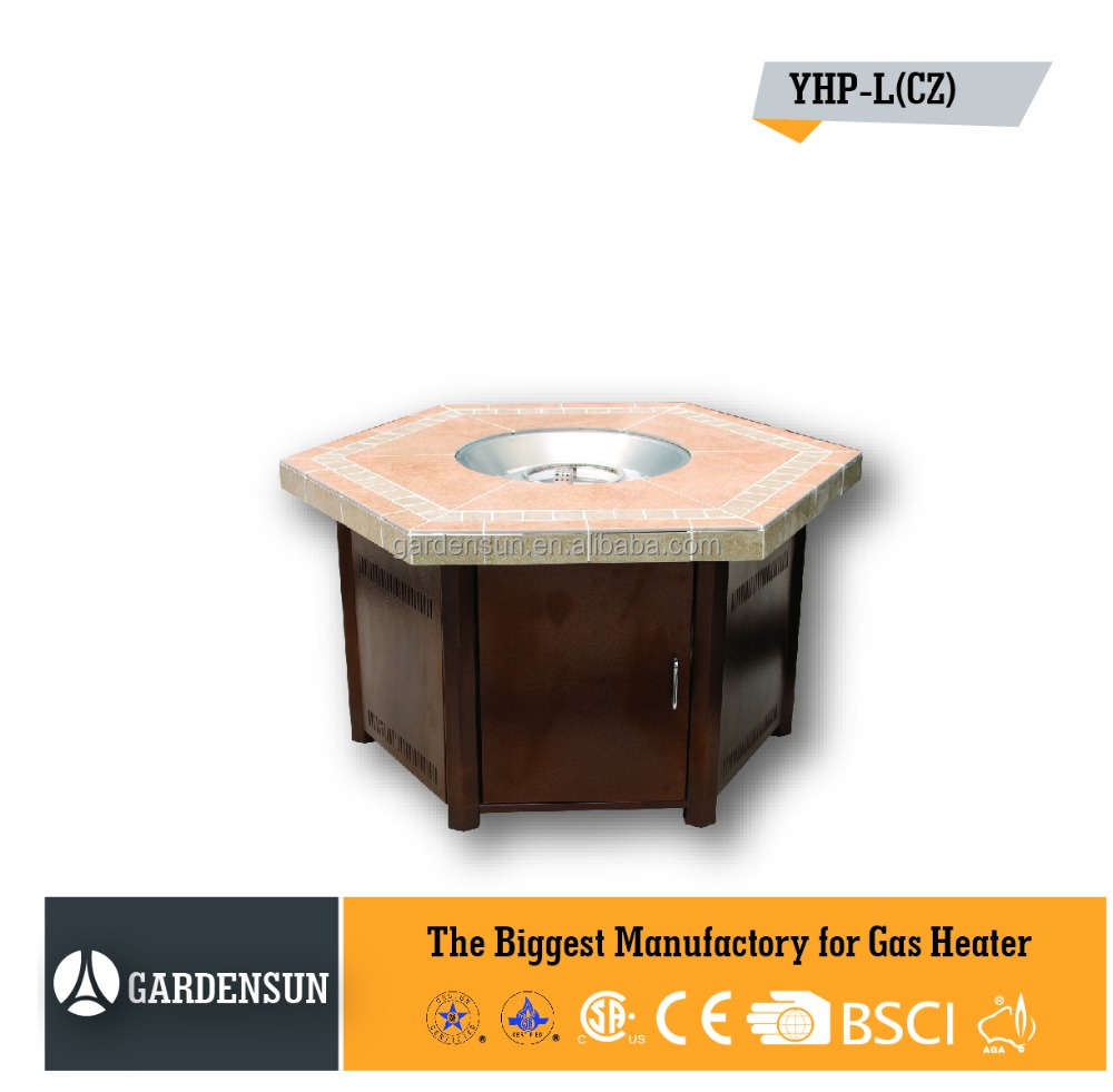 Gas outdoor fire pit table with hammed(hexagon tile fire pit) GARDENSUN 40000BTU with CE CSA AGA ISO