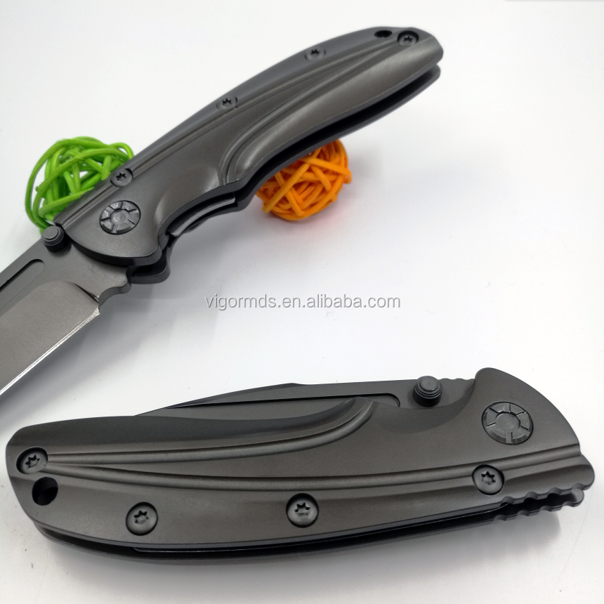 (PK-4867T) 2017 NEW Grey Ti-Coated High Quality Tactical Survival Outdoor Folding Pocket Knife Halo No.1