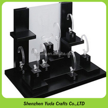 Painting mdf board stands acrylic c rings holder MDF watch display showcase with wood base