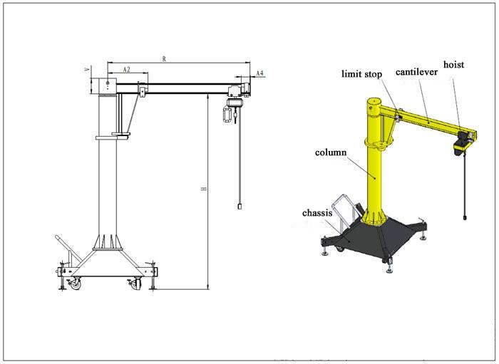 Jib Crane Wheels : Kg portable jib crane buy