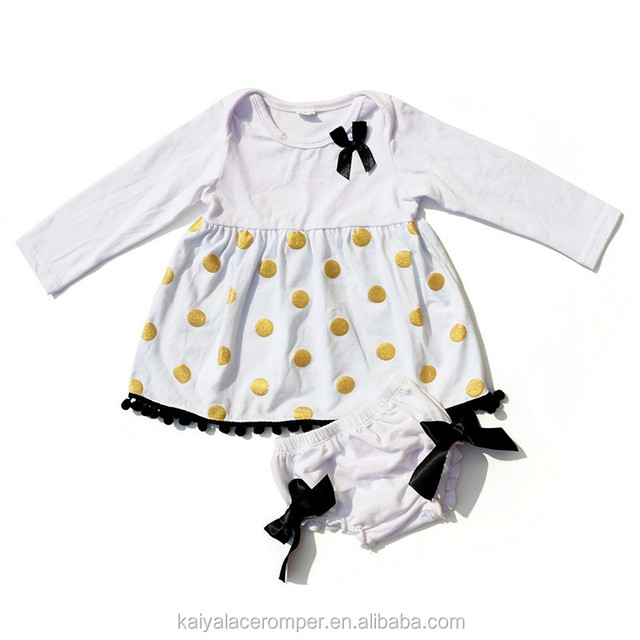 Girls Boutique Clothing Fall 2016 White with Gold Polka Dot Cotton Baby Cloth