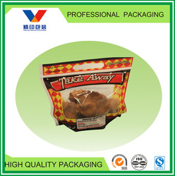 food grade anti fog fried chicken packaging bag with vent/handle