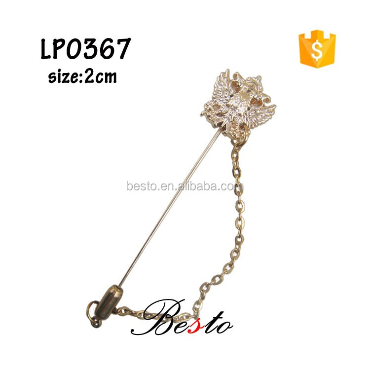 New fashion men decoraion metal lapel pin with chain