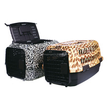 Hot Sale Large Leopard Print Plastic Pet Carrier Dog Crate