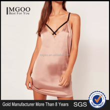 Women Satin Nighty Night Dress With Cross Straps Gold Harness Detail Cami Slip Dress