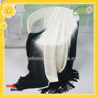 Wholesale 100%Acrylic Knitted Jacquard Gradient Printed Pashmina Shawl With Tassel