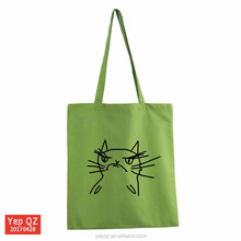 Hot sale high quality green color wholesale eco friendly promotional recyclable shopping cotton bag with black cute cat printed