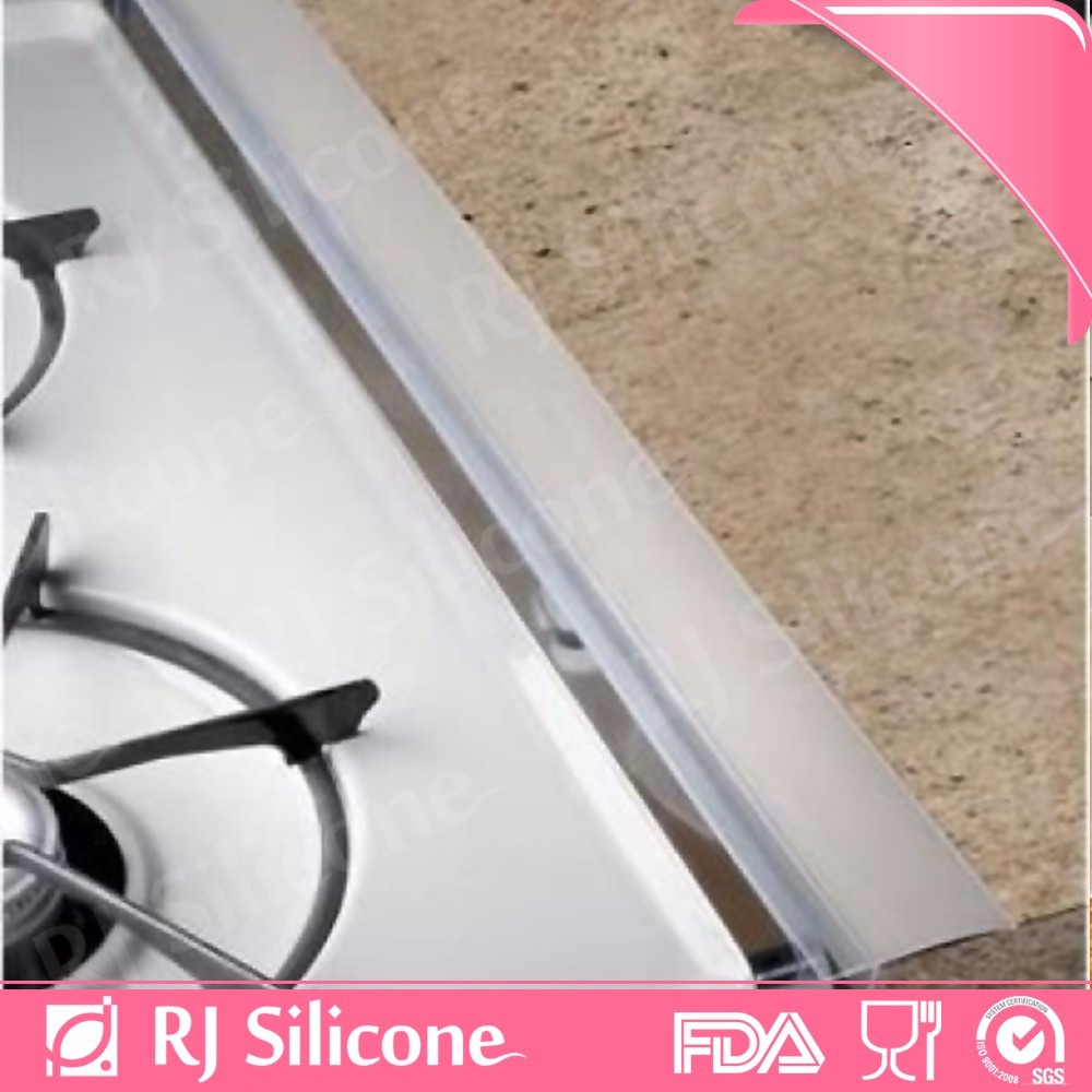 RJSILICONE high transparency kitchen countertop spill guard oven gap cover seals silicone stove counter gap covers