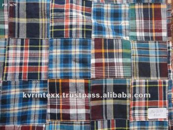 madras patchwork fabric for wholesale