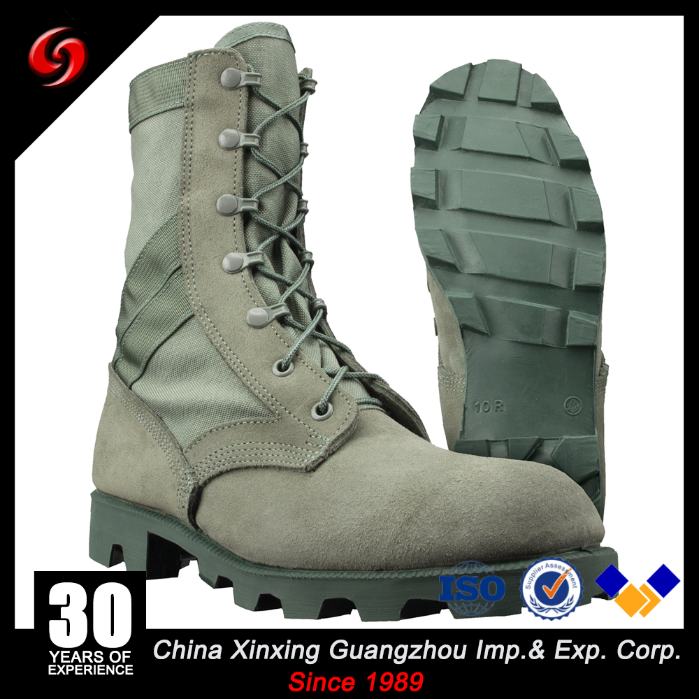 Green Panama rubber sole military style jungle suede leather nylon upper anti oil combat boots