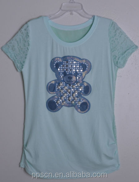 Hot selling lovely bear cartoon print beaded t shirt with lace back for women