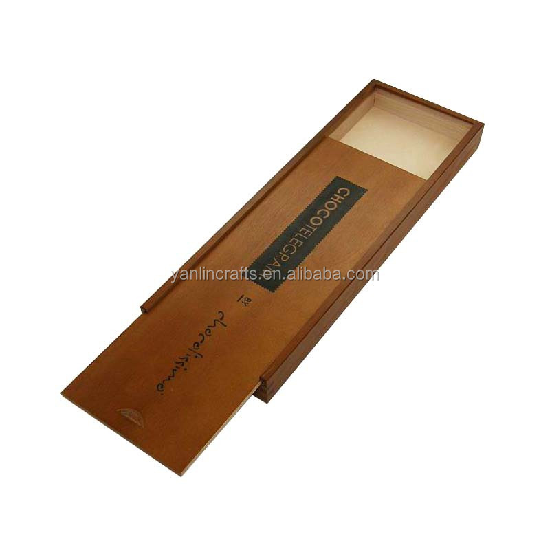 Unique sliding lid design wooden gift box