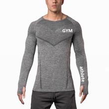 Custom mens fitness compression dri fit seamless t shirt gym tshirt in guangzhou