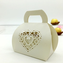 New design Laser Cut creamy heart Purse irregular shape paper wedding candy box chocolate favour box baby shower gift box