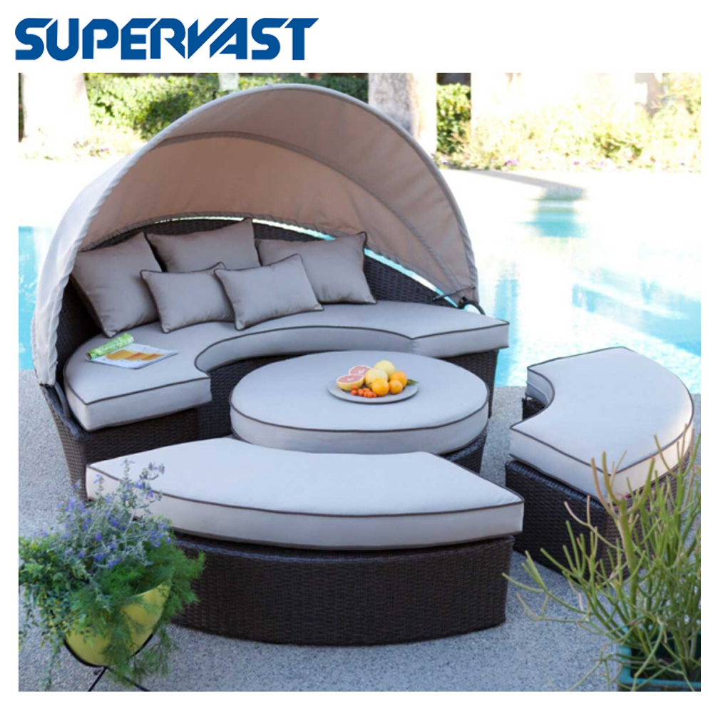 Outdoor Rattan Cushions Daybed With Canopy