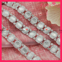 white fashion rhinestone cup plastic trim for bridal decoration WRC-163