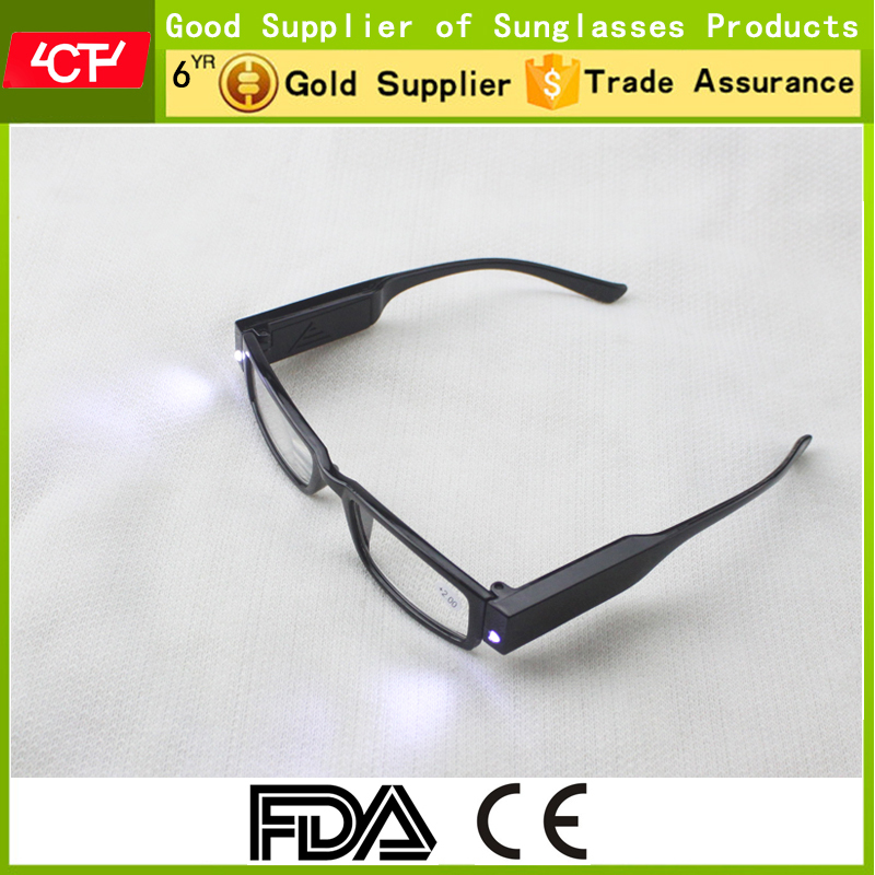 2016 hot sale fashionable promotional black led light reading glasses