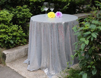 New Cheap Hot Sale Fancy 100 Percent Polyester Embroidery Metallic Sequence Wedding Silver Sequin Tablecloth