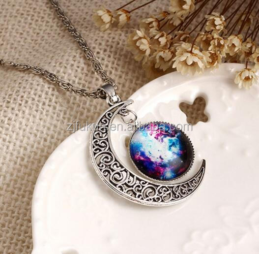 Fashion Galaxy Pave Moon Galaxies Pendants Chain <strong>Necklace</strong> for Girls Women