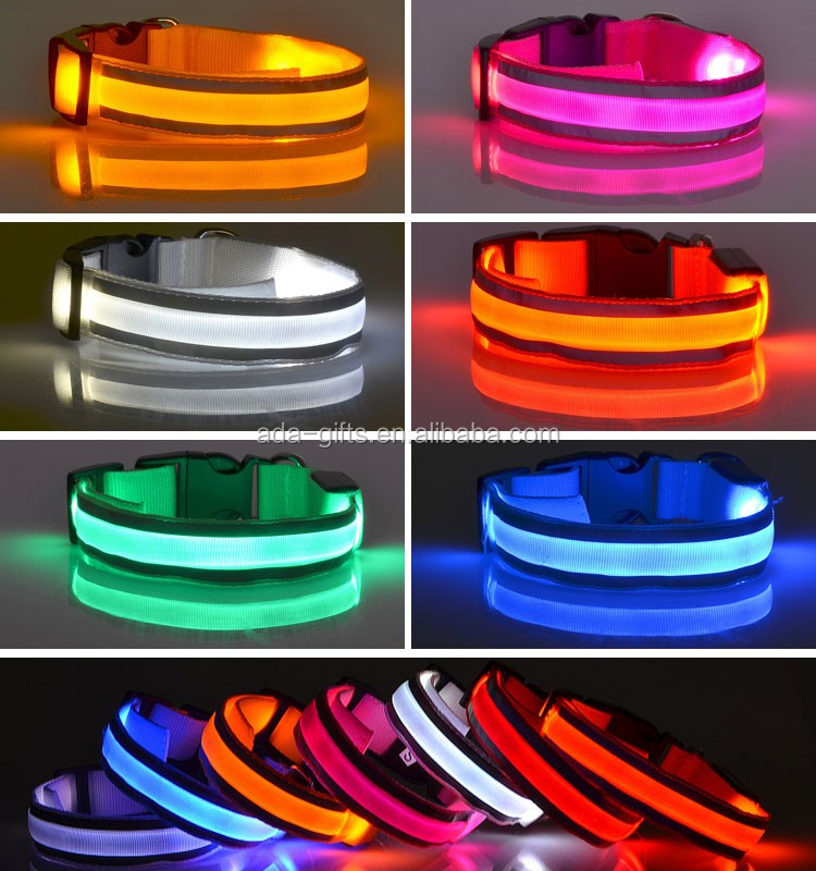 Reflective led flashing pet dog collar safety glowing adjustable led dog collar pet dog collar waterproof