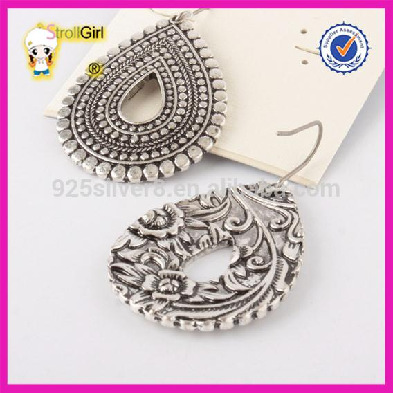 Vintage earrings delicacy Indian style engraving art flower pattern pendant hook earring women silver oxidize jewelry