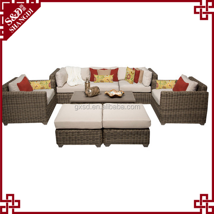 Alibaba Wholesale Modern Indoor Sectional Rattan Furniture Living Room Sofa S