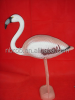 Plastic simulation large animal standing of pink flamingo