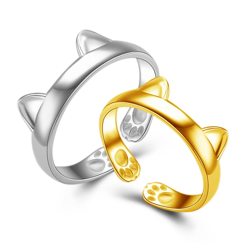 Silber Überzogene Katze Ohr Ring Netter Schmuck Katze Ring Für ...