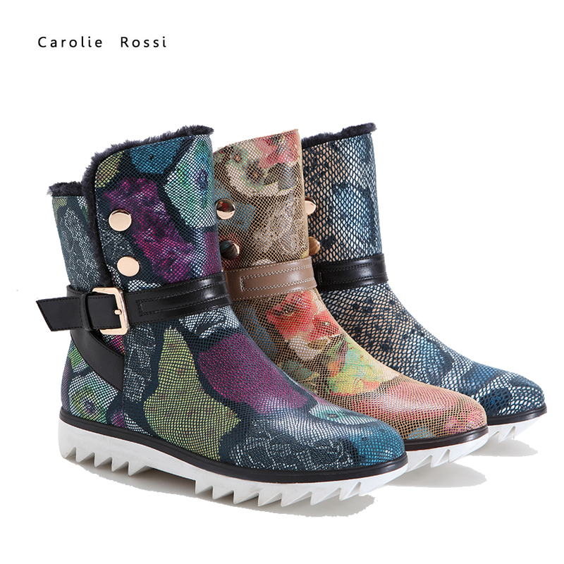 New fashion cheap price warm pu half calf winter snow boots for women