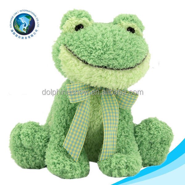 Funny cute green frog plush dog toy for kid promotional custom stuffed soft toy plush frog