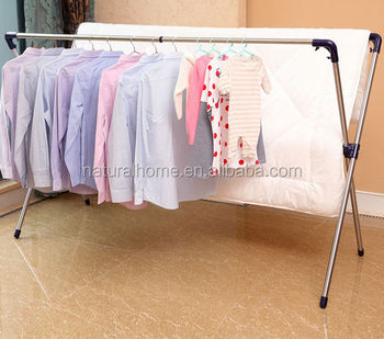 Wholesale customized portable foldable metal clothes hanger stand drying rack
