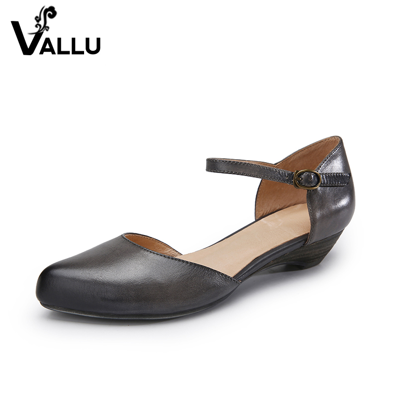 pointed toe genuine leather sandals women high heels shoes pumps women mary janes summer