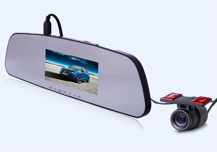 Ambarella A7 Rearview Mirror Car DVR with dual camera