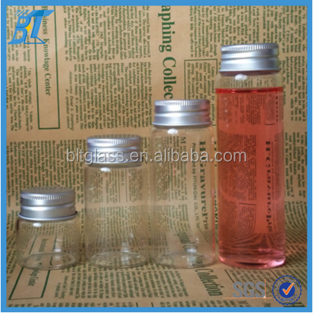 Borosilicate material glass candy tube for candy Vitamin pills with aluminium lid 25ml 50ml 70ml 100ml