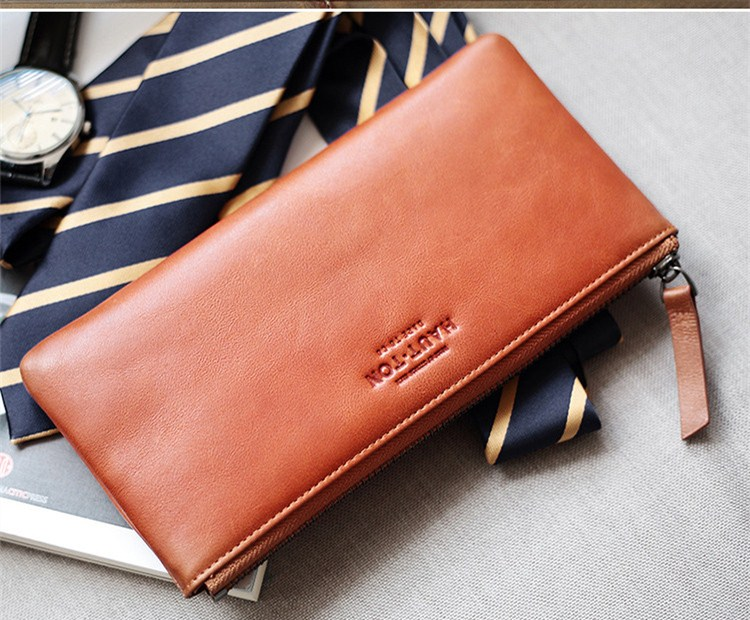 New Arrival Fashion Man Slim Wallets with Zipper Genuine Top Cow Leather Cluth Bags For Men