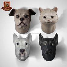 Retro animal head creative resin animal head wall decoration dog cat wall hanging ornaments
