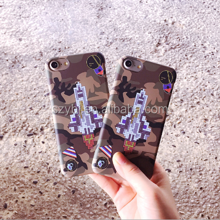 Factory direct sale Fashion girl and boy lovers army green camouflage liberal plane picture printing phone case for iphone 6 7