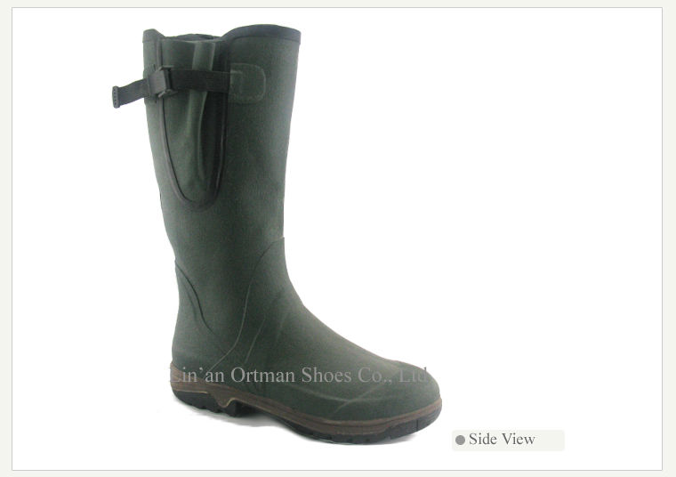 custom made UK gum wellington boots with gusset and side buckle