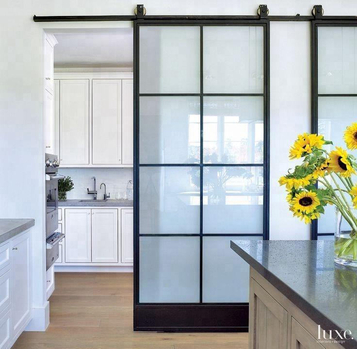 Frosted Glass Interior Door With Black Steel Framesteel Sliding