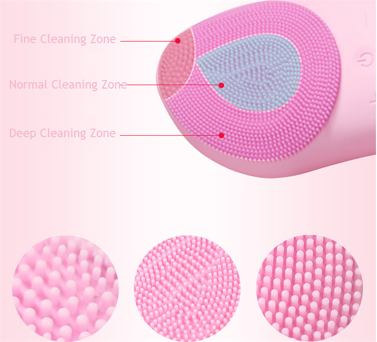 2019 new design  IP7 WATERPROOF USB charging silicone facial cleaning brush