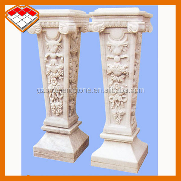Golden stone pillars and marble columns for decoration