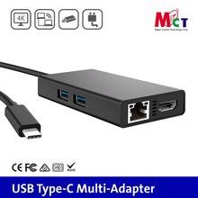Taiwan made Type C USB Multi-Adapter USB 3.0 2 port to HDMI 4K displayport with PD charging, Ethernet rj45 HUB